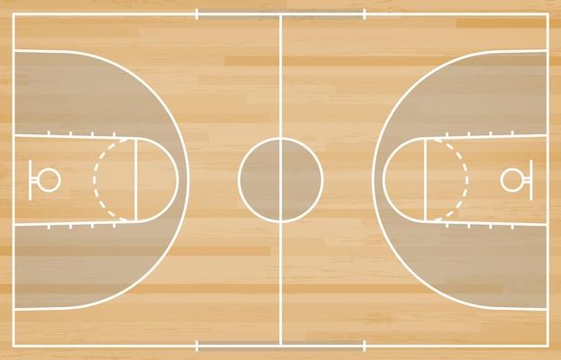 Boisko do koszykówki podłoga z linią na drewnianym tekstury tle