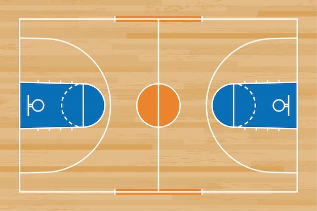 Boisko do koszykówki podłoga z linia wzorem na drewnianym tle.