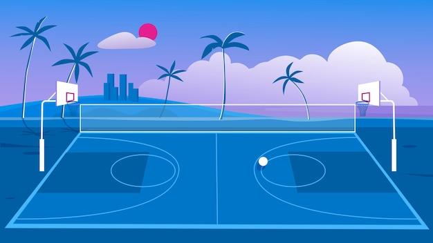 Boisko do koszykówki w mieście ulica odkryty plac zabaw z obręczami dla ilustracji piłkę