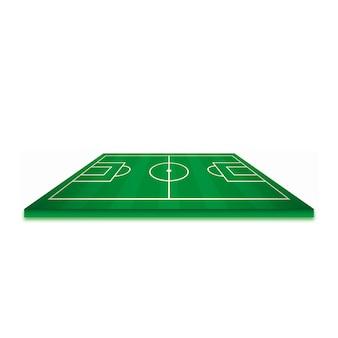 Boisko do piłki nożnej lub boisko do piłki nożnej na białym tle. elementy perspektywy