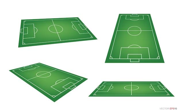 Boisko do piłki nożnej lub boisko do piłki nożnej tło na białym tle