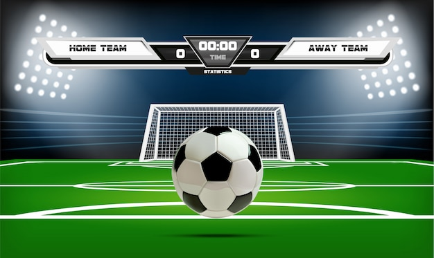 Boisko do piłki nożnej lub piłki nożnej z elementami infographic i 3d piłkę.