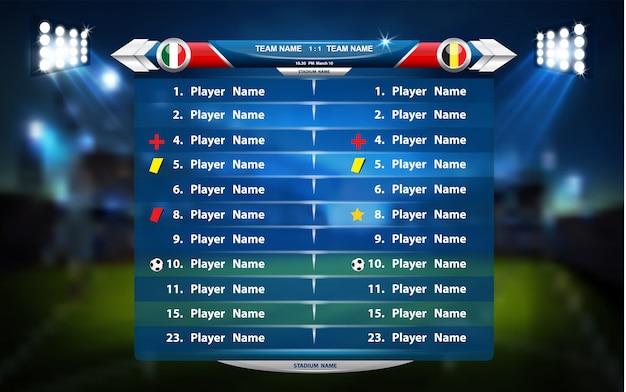 Boisko do piłki nożnej lub piłki nożnej z zestawem elementów plansza. gra sportowa. puchar sportowy.