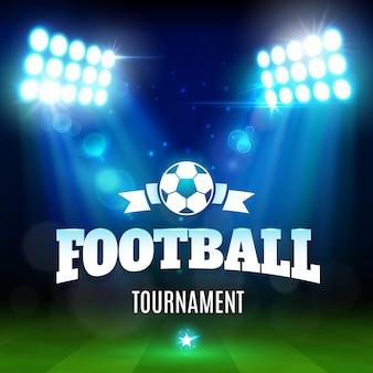 Boisko do piłki nożnej lub stadionu piłkarskiego z piłką, światłami