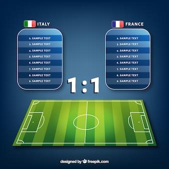 Boisko do piłki nożnej tło z tablicą wyników w realistycznym stylu