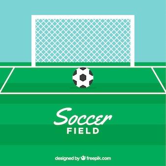 Boisko do piłki nożnej tło z tablicą wyników w stylu płaski