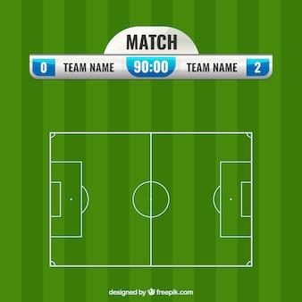 Boisko do piłki nożnej tło z tablicą wyników