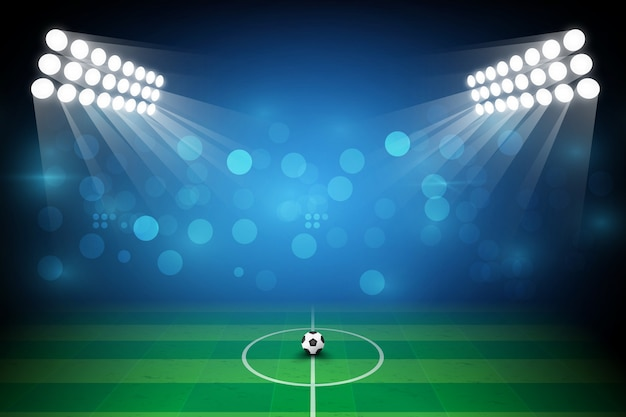 Boisko do piłki nożnej z jasnym oświetleniem stadionu. oświetlenie wektorowe