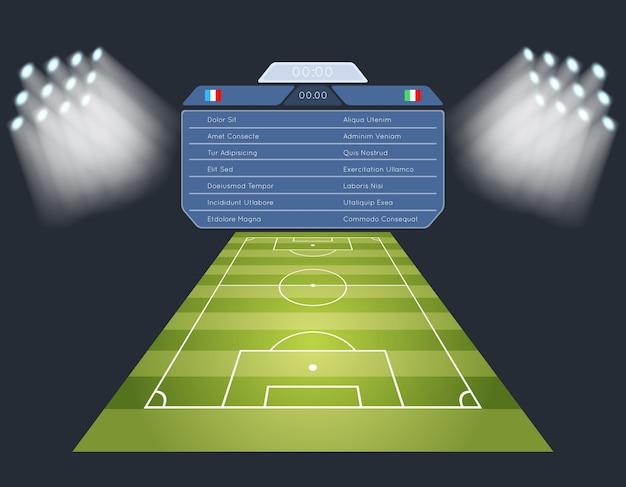 Boisko do piłki nożnej z tablicą wyników. oświetlenie stadionu piłkarskiego.