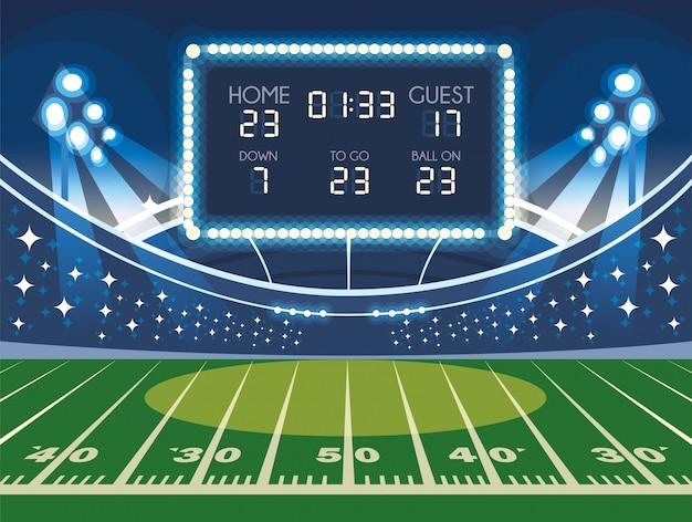 Boisko do piłki nożnej z tablicą wyników, stadion piłkarski