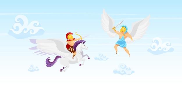 Bojownicy w ilustracji nieba. walka wojowników. mężczyzna lecący na pegazie. ikar ze skrzydłami. bohaterowie walczą w powietrzu. fantastyczne stworzenia. mitologia grecka. postaci z kreskówek gladiator