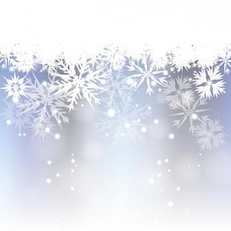 Bokeh tła z białe płatki śniegu