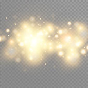 Bokeh złote cząsteczki blasku. efekt brokatu. rozbij błyskami. złote błyszczące brokaty i gwiazdy. świąteczna ilustracja błyszczących cząstek. gwiazdy ognia na przezroczystym tle.