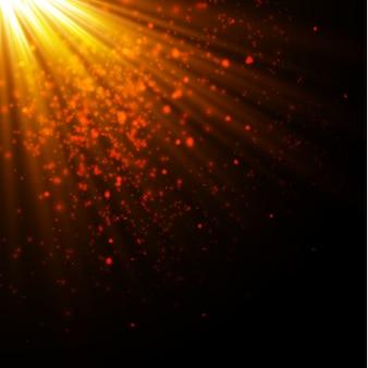 Bokeh złote cząsteczki blasku. efekt brokatu. rozbij błyskami. złote błyszczące brokaty i gwiazdy.