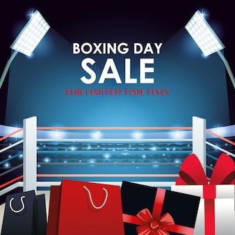 Boks sprzedaż kolorowy sztandar z pudełkami i torbami na zakupy na ringu