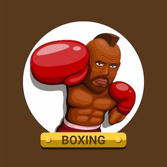 Bokser myśliwiec poncz postać symbol znaku bokser sportowiec koncepcja w kreskówce