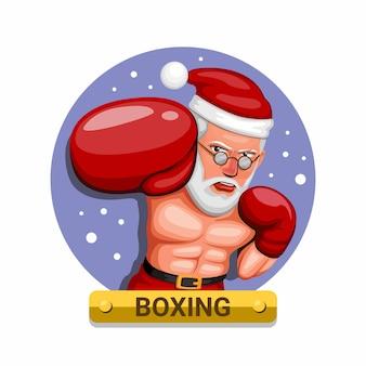 Bokser w stroju mikołaja. sport bokserski w koncepcji postaci w okresie bożego narodzenia w kreskówce