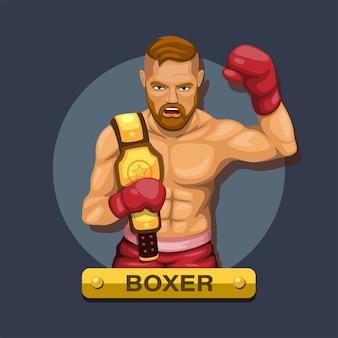 Bokser, zawodnik boksu z koncepcją postaci pasa mistrzowskiego