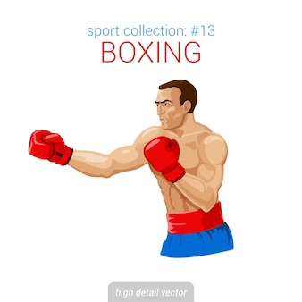 Boksera mężczyzna rękawiczki kopią boks walki ilustrację.