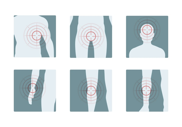 Ból ciała koncentryczne czerwone pierścienie bolesnych ludzkich części przeciwbólowych obrazów wektorowych koncepcji