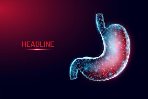 Ból ludzkiego żołądka. model szkieletowy w stylu low poly. koncepcja medycyny, leczenia układu pokarmowego. streszczenie nowoczesne 3d wektor ilustracja na ciemnym niebieskim tle.
