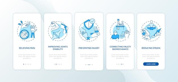 Ból mięśni łagodzi niebieski ekran strony aplikacji mobilnej na pokładzie z koncepcjami.
