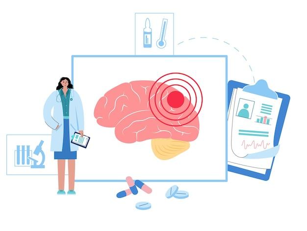 Ból, rak lub stan zapalny w mózgu. logo kliniki neurologii. guz lub infekcja mózgu