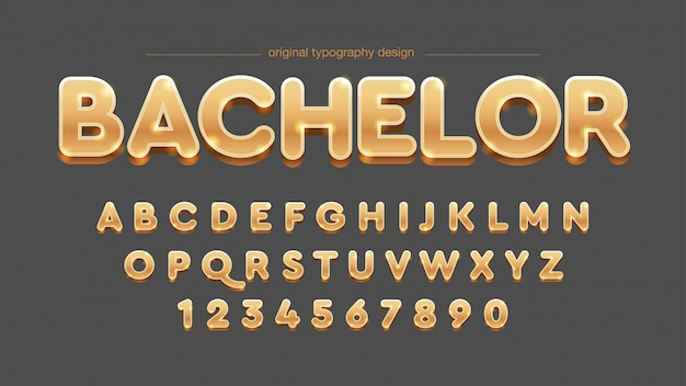 Bold 3d golden typography design