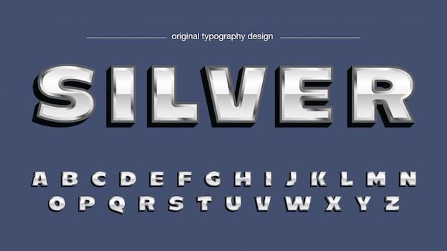 Bold chrome silver artistic font