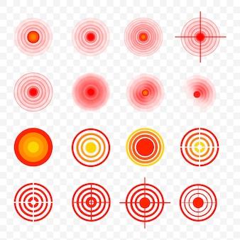 Bolesne plamy na ciele. czerwone pierścienie bólu, wskazujące lokalizację bólu w różnych częściach ludzkiego ciała, takich jak plecy, szyja, głowa, plecy i inne. ból mięśni, bolesne bóle głowy lub wyleczenie