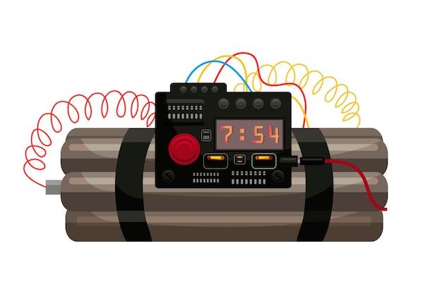 Bomba dynamitowa z cyfrowym zegarem odliczającym i izolowanym drutem.