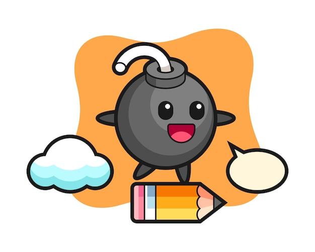 Bomba maskotka ilustracja jedzie na gigantycznym ołówku