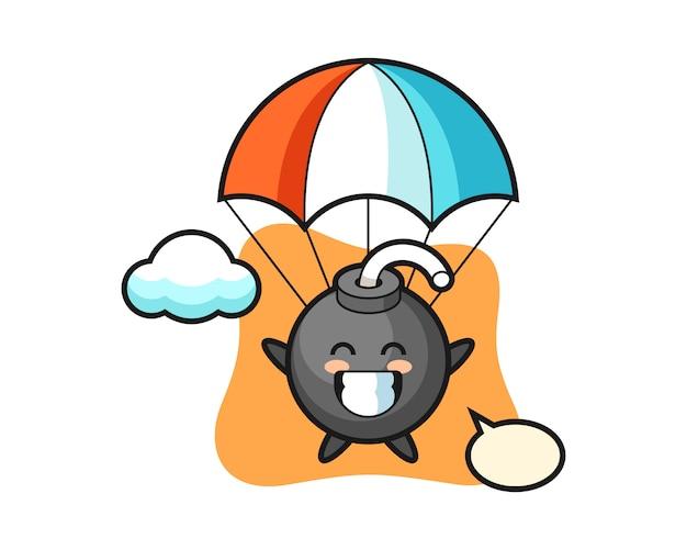 Bomba maskotka kreskówka skacze ze spadochronem z radosnym gestem