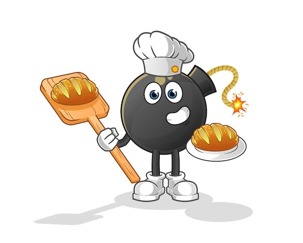 Bomba piekarza z chlebem kreskówka. kreskówka maskotka