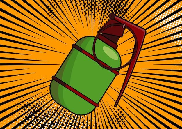 Bomba pop-artu na tle komiksu pop-artu w stylu retro. terroryzm grozi zniszczeniem. kreskówka bomba w tle z kropkami półtonów i sunburst.