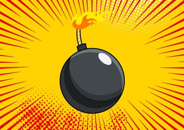 Bomba pop-artu na tle komiksu pop-artu w stylu retro. terroryzm to niebezpieczeństwo zniszczenia kreskówki bomby