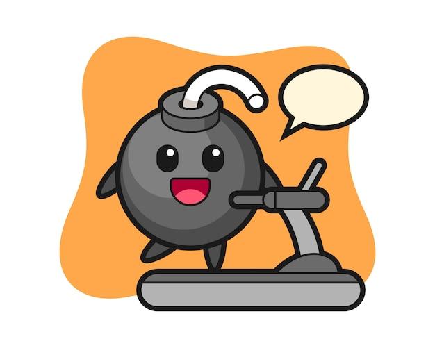 Bomba postać z kreskówki chodzenia na bieżni