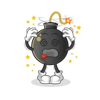 Bomba zawroty głowy ilustracja maskotka