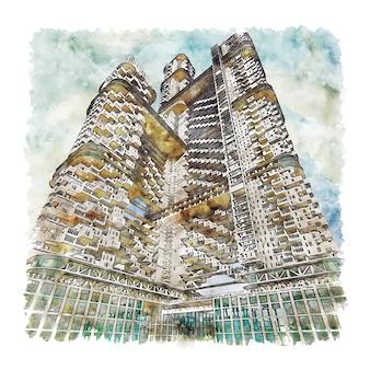 Bombaj-maharasztra szkic akwarela ręcznie rysowane ilustracji