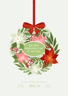Bombka bożonarodzeniowa z kokardką, gwiazdami betlejemskimi, jagodami ostrokrzewu, jagodami jarzębiny, roślinami ozimymi, gałązkami sosny. ilustracja xmas z frazą najpiękniejsza pora roku.