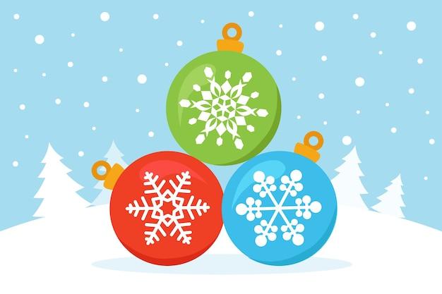 Bombki choinkowe z płatkami śniegu na śniegu