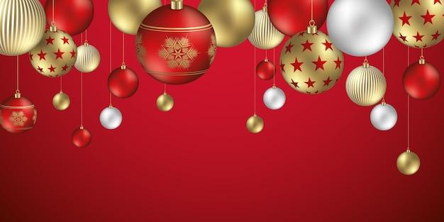 Bombki tło z świątecznymi ozdobami z płatków i gwiazd