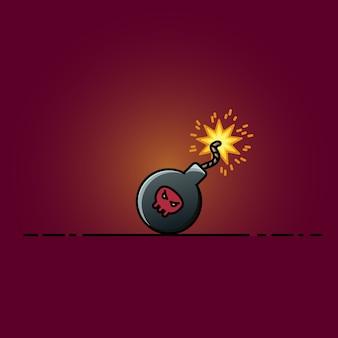 Bombowa płaska ikony kreskówki ilustracja