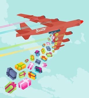 Bombowiec santas upuszcza prezenty