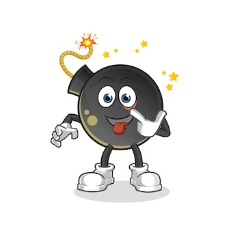 Bombowy śmiech i kpina z postaci. kreskówka maskotka