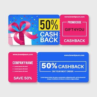 Bon upominkowy karty bonów pieniężnych kupon zwrotny z kodem
