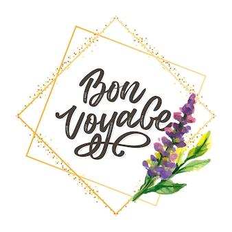 Bon voyage ręcznie rysowane napis.