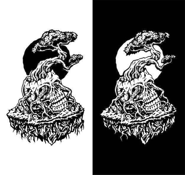 Bonsai wyrastające z ludzkiej czaszki, odizolowane na ciemnym i jasnym tle