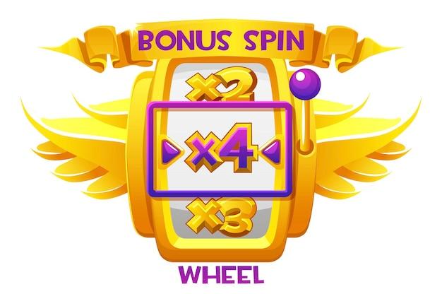 Bonus zakręć złotym kołem ze skrzydłami kasyna do gier z interfejsem użytkownika. ilustracja wektorowa hazard luksusowa maszyna fortuny do projektowania graficznego.