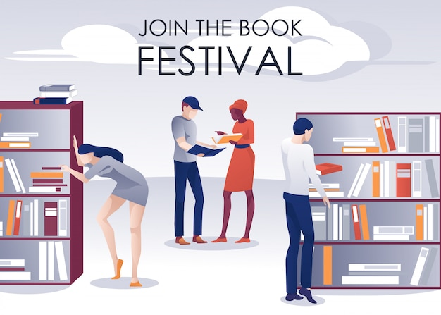 Book festival plakat promocyjny people in library